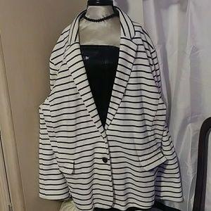 Old navy white and navy stripe blazer